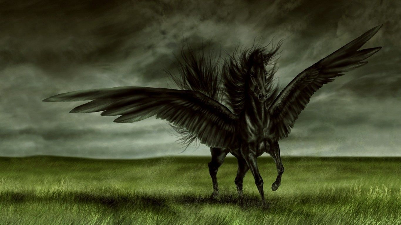 Horse Pictures In Hd Wallpapers Angel Horse Hd Jootix 1366x768 189045 Angel Black Horse Horse Wallpaper Mythical Creatures