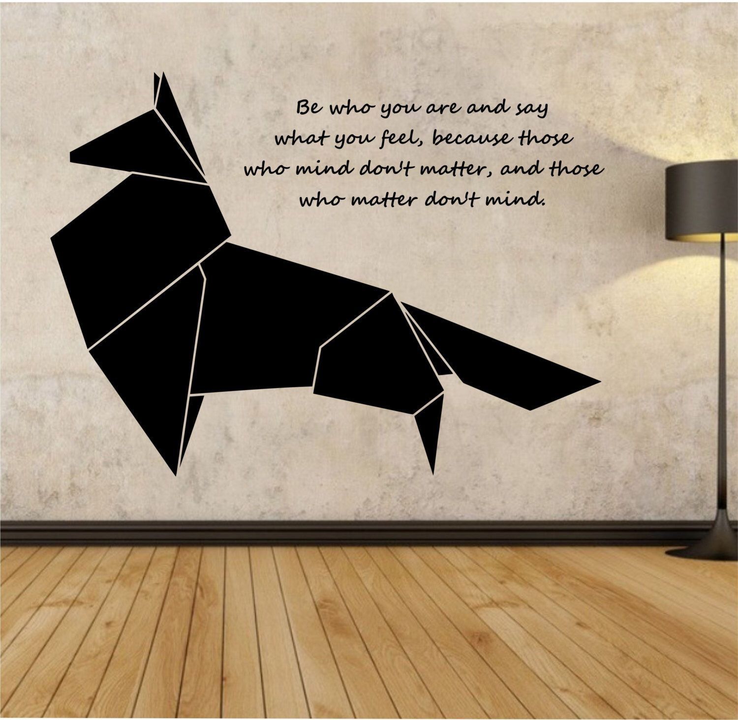origami fox geometric vinyl wall decal sticker art decor bedroom design mural animal interior. Black Bedroom Furniture Sets. Home Design Ideas