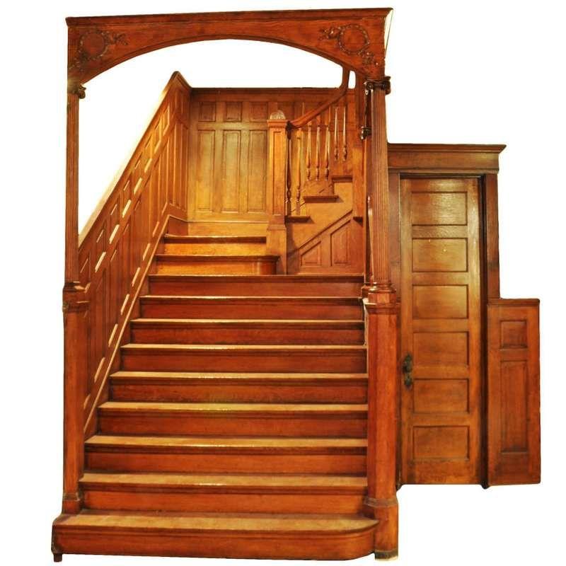 Best Victorian Quartersawn Oak Staircase Circa 1895 For Sale 640 x 480