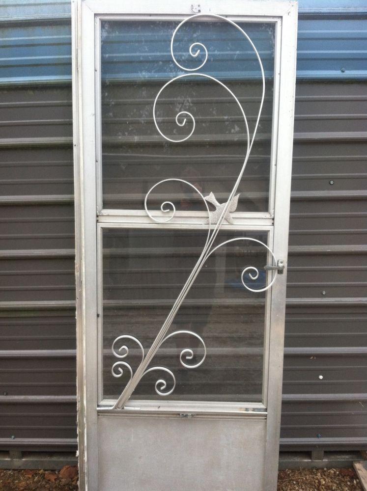 Vintage Mid Century New Old Stock Aluminum Screen Door