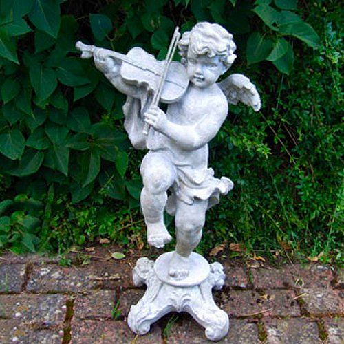 Garden Statue Of A Cherub Playing A Violin Whilst Balancing On One Leg.