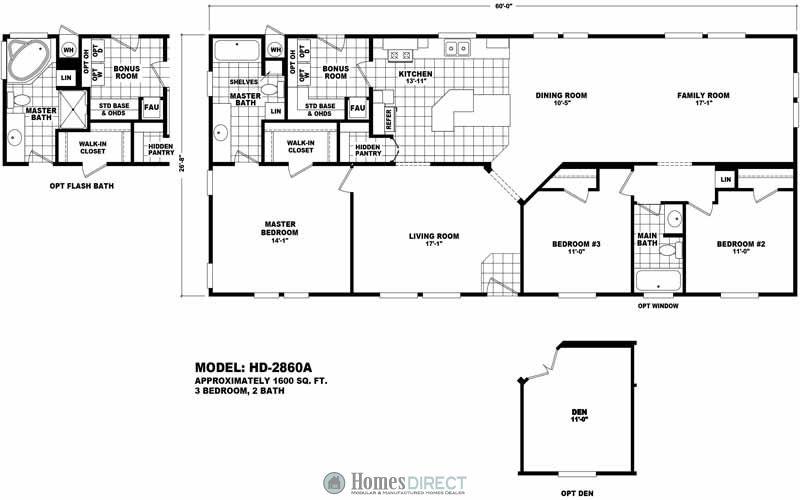 Hd2860a Floor Plans Manufactured Homes Floor Plans House Floor Plans