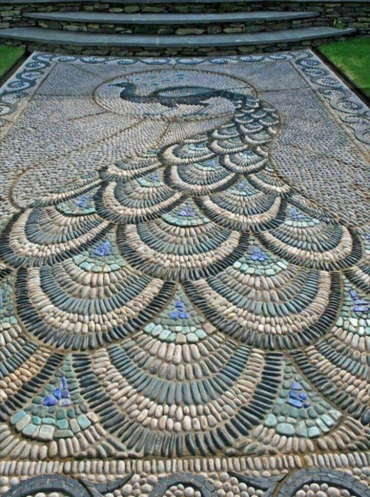 Art Nouveau peacock mosaic, 1910