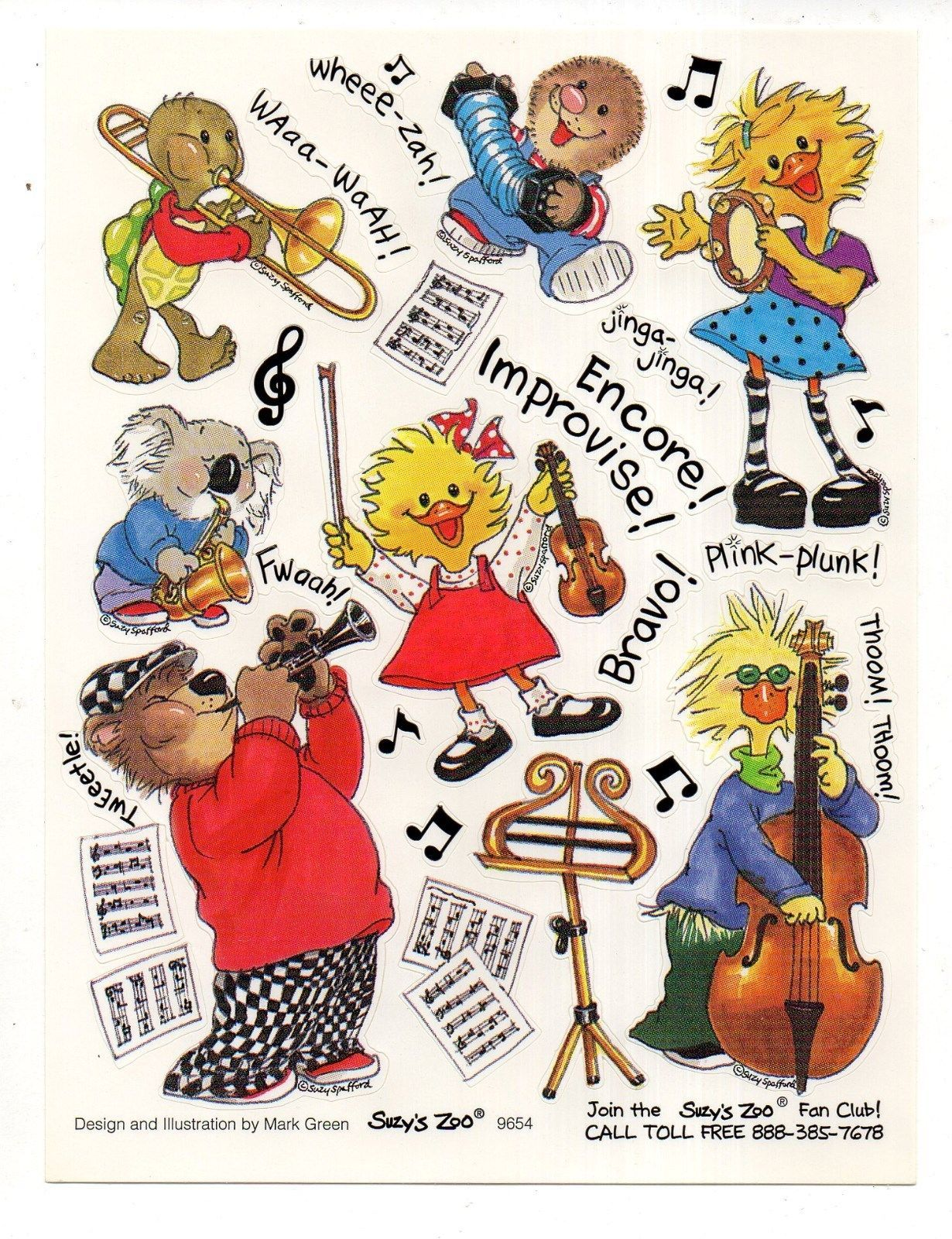 Vintage Suzy's Zoo Sticker, CUTE ANIMALS MUSICAL INSTRUMENTS, 1 Sheet | eBay