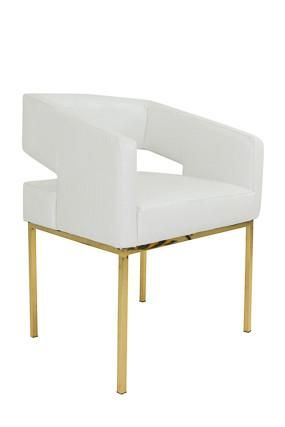 Charmant Open Back Chair In Faux White Croc And Brass Legs