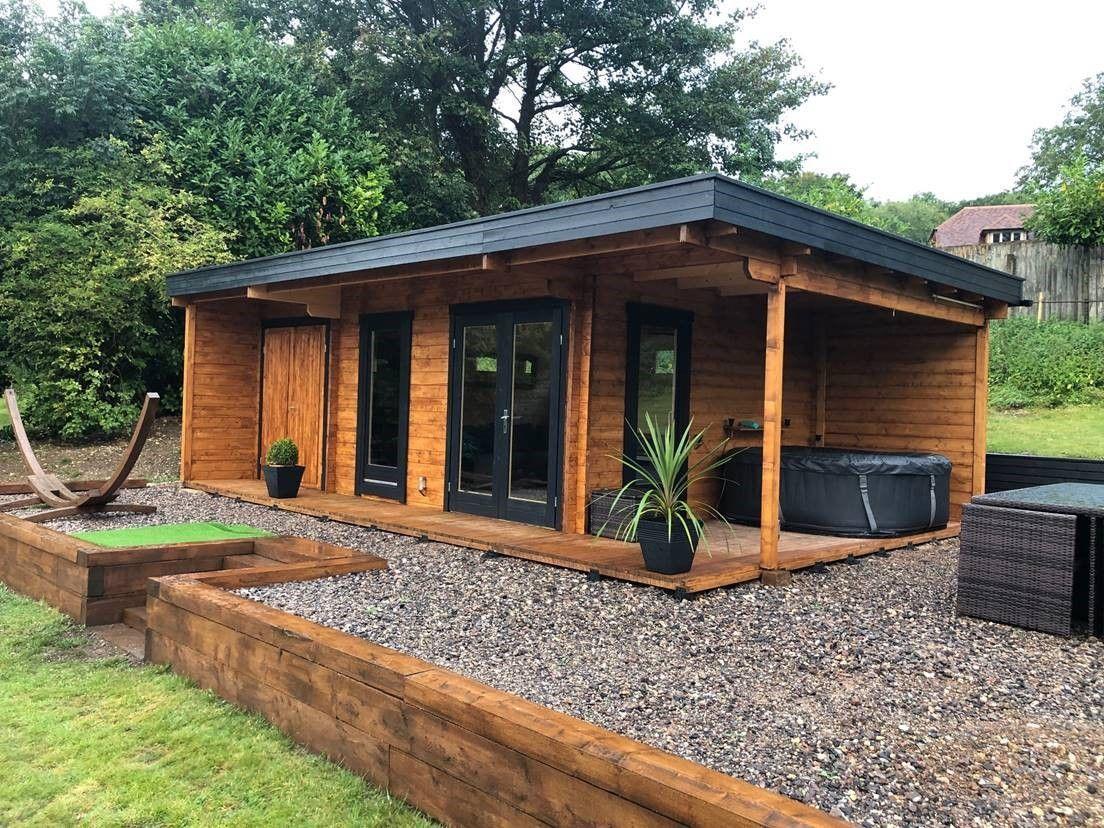 Luxus Gartenhaus Hansa Lounge XXL mit 2 Zimmern 22m² 44mm 5x8