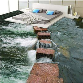 Realistic Stone Path in the Limpid River Pattern Home Decorative Waterproof 3D Floor Murals