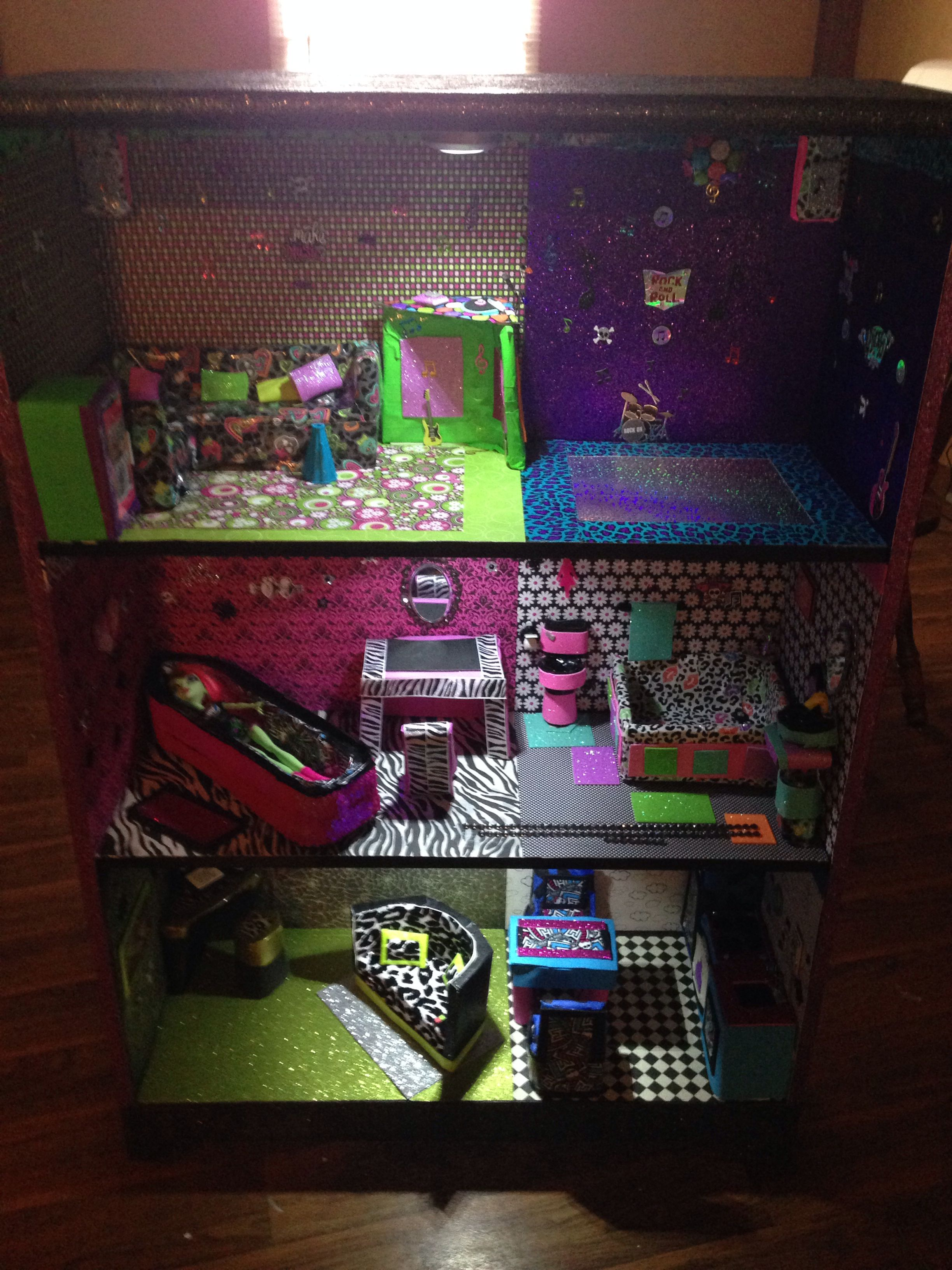 Up Cycled Bookshelf Re Purposes Into Light Up, Monster High Themed Dollhouse