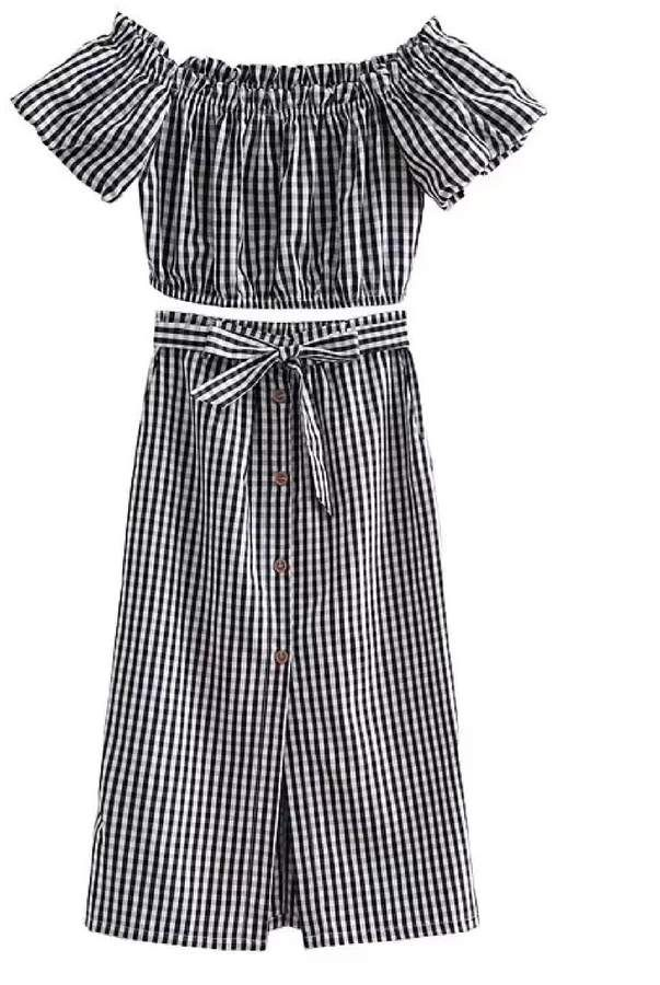 6a90edbf7af28  Devia  Striped Off The Shoulder Midi Skirt Two Piece Set  polyester Top  skirt