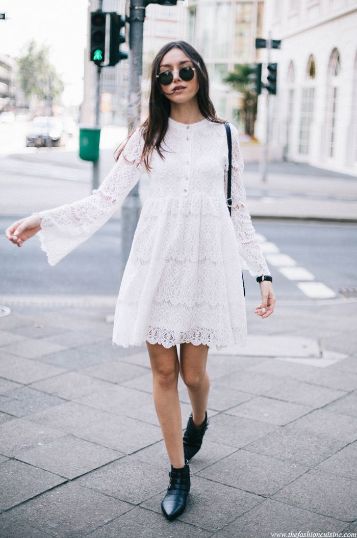 edgy boots with white peasant dress 2017