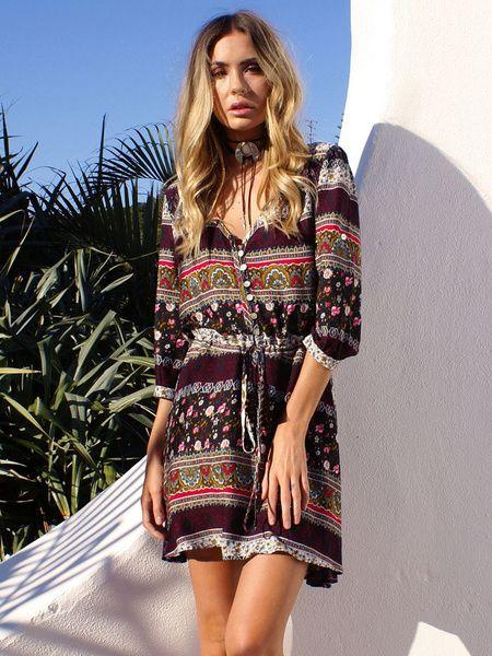 61fa7fb6949 Bohemian Dress Printed V Neck Half Sleeve Short Beach Dress For ...