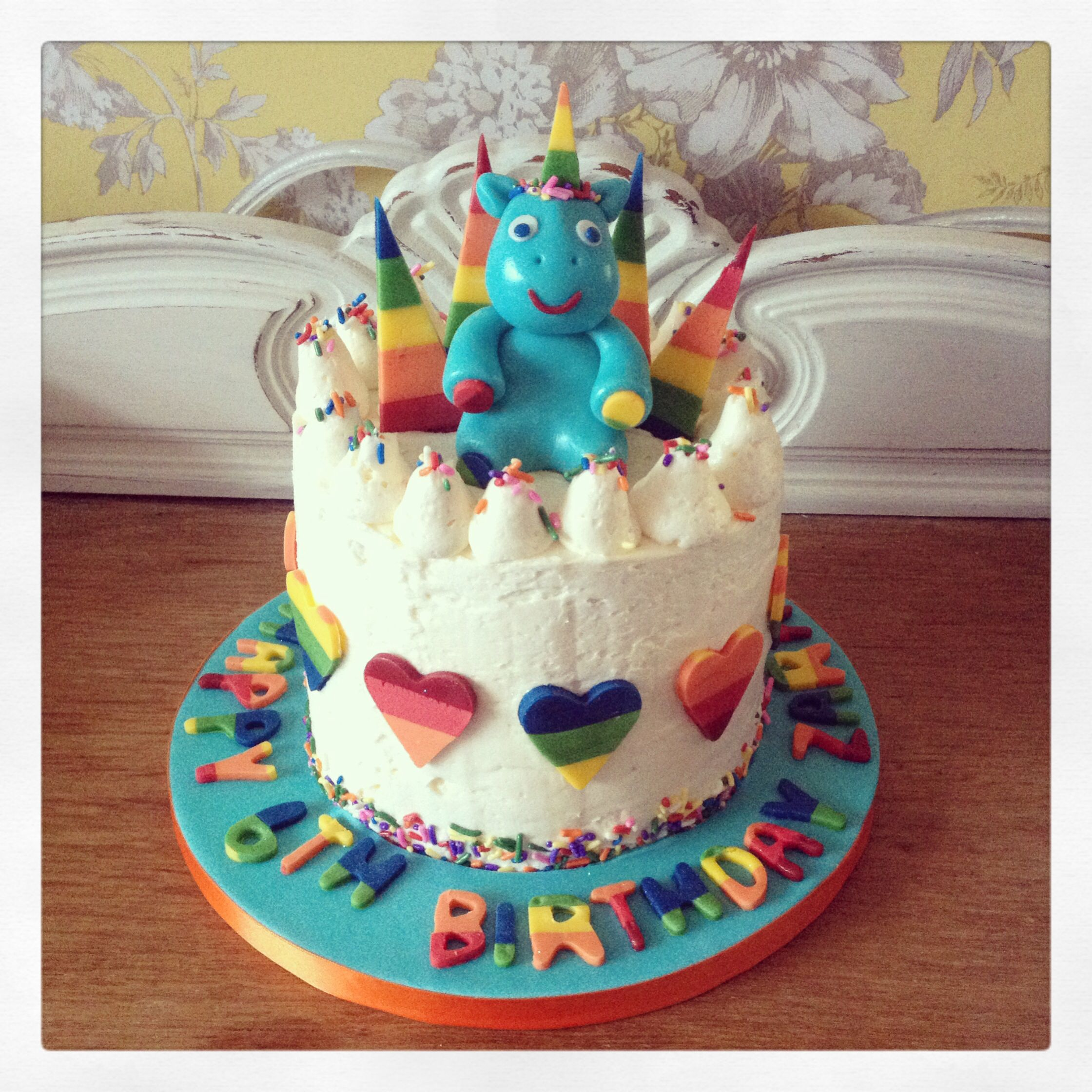 Unicorn and rainbows birthday cake Hidden surprise rainbow sponge