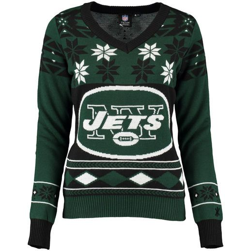 newest 0fb82 893f8 New York Jets Women's Green/White Big Logo V-Neck Ugly ...