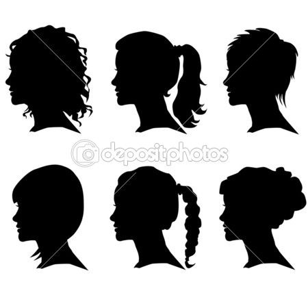 9e14541822be Vector set of woman silhouette with hair styling — Stock Vector ...