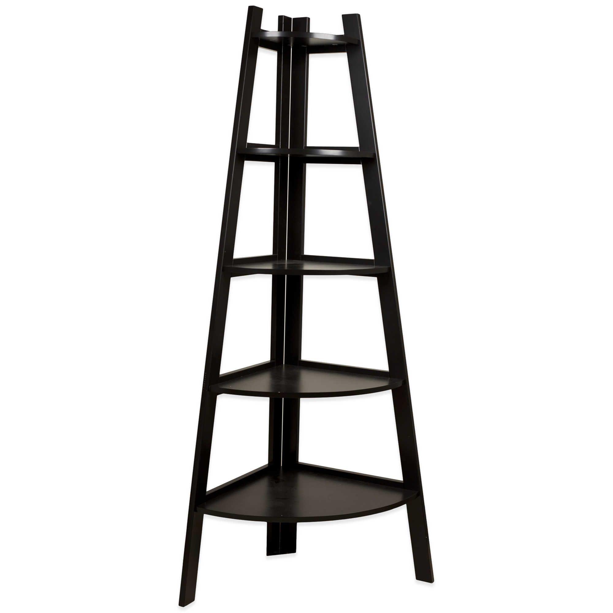 Wood tiered corner ladder bookshelf display in espresso if we ever