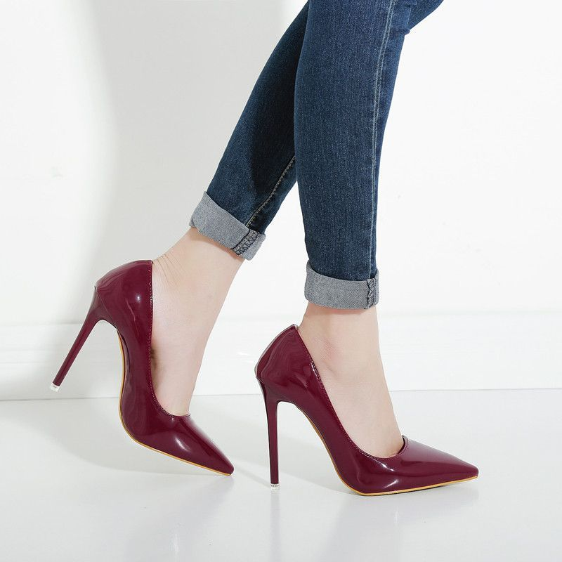Hot Ol Office Lady Clics Women Y Stiletto High Heels Pumps Shoes Pointed Toe Red