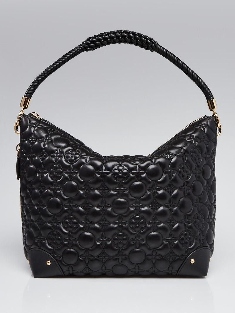 ad963cd2a7e Louis Vuitton Black Monogram Lambskin Leather Triangle Softy Bag ...
