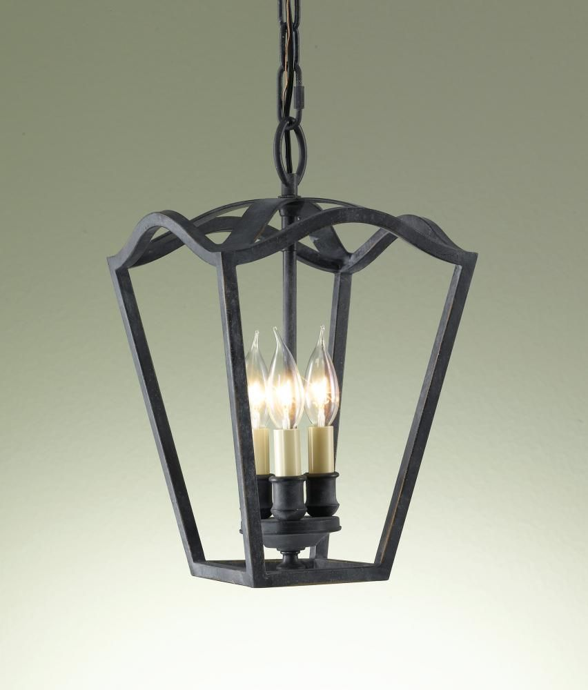 Three Light Antique Forged Iron Open Frame Foyer Hall