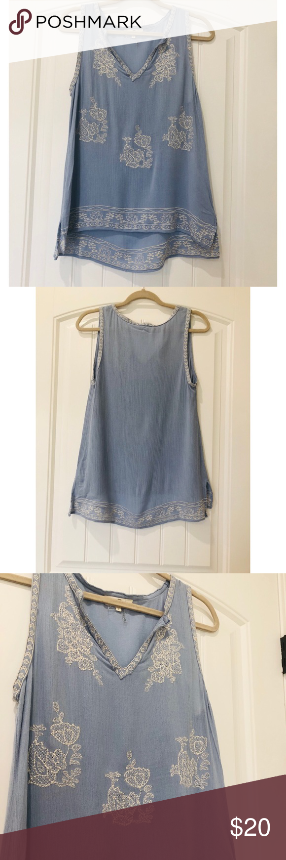 1f941342d0 Anthropologie ENTRO boho blue embroidered top Great condition this entro  top is a SIZE L Anthropologie Tops