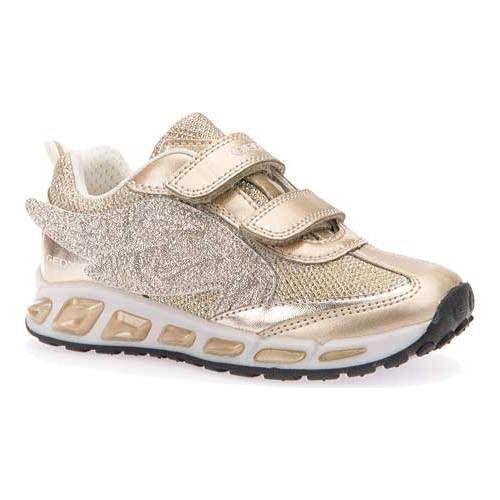 e834948203 Girls' Geox Jr Shuttle Adjustable Strap Shoe J6206A - Gold  Polyurethane/Textile Sneakers