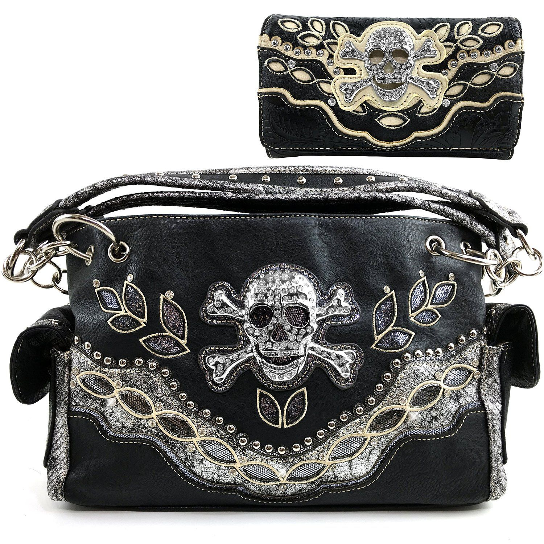 8e22580466 Justin West Floral Western Embroidery Rhinestone Skull Fashion Shoulder Concealed  Carry Handbag Purse Collection (Black Gleaming Silver Handbag Wallet Set)   ...