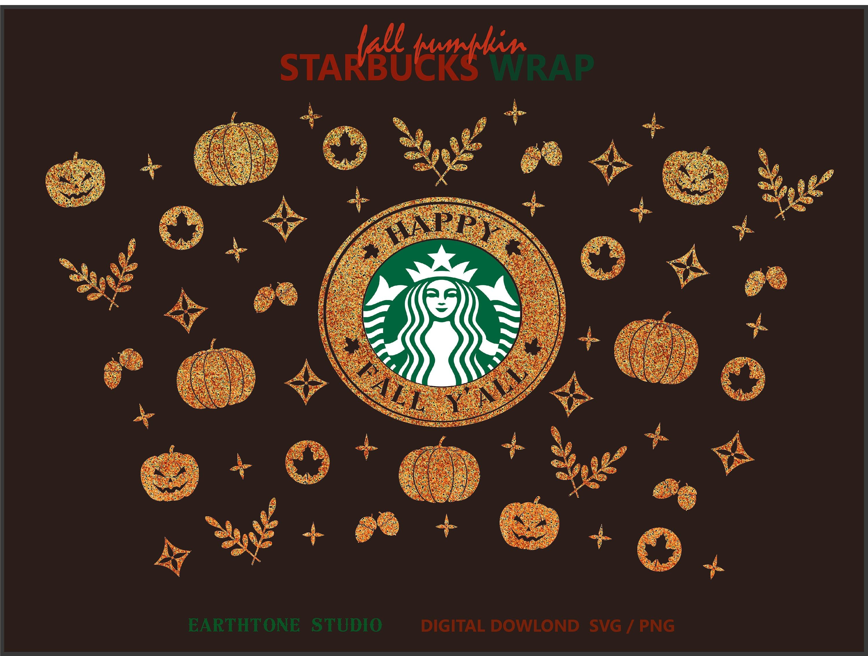 Happy Fall Y All Fall Pumpkin Halloween Theme Full Wrap Svg For Starbucks Venti Cold Cup 24 Oz Svg Fi In 2020 Halloween Pumpkins Halloween Cups Starbucks Halloween
