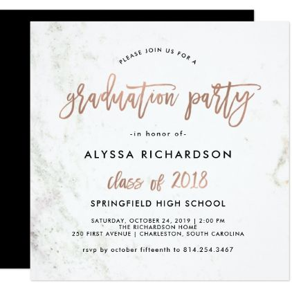 Modern script marble graduation party rose gold invitation modern script marble graduation party rose gold card graduation party invitations card cards cyo filmwisefo