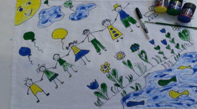 fabric painting - tea towel - Instead of adult colouring books ...