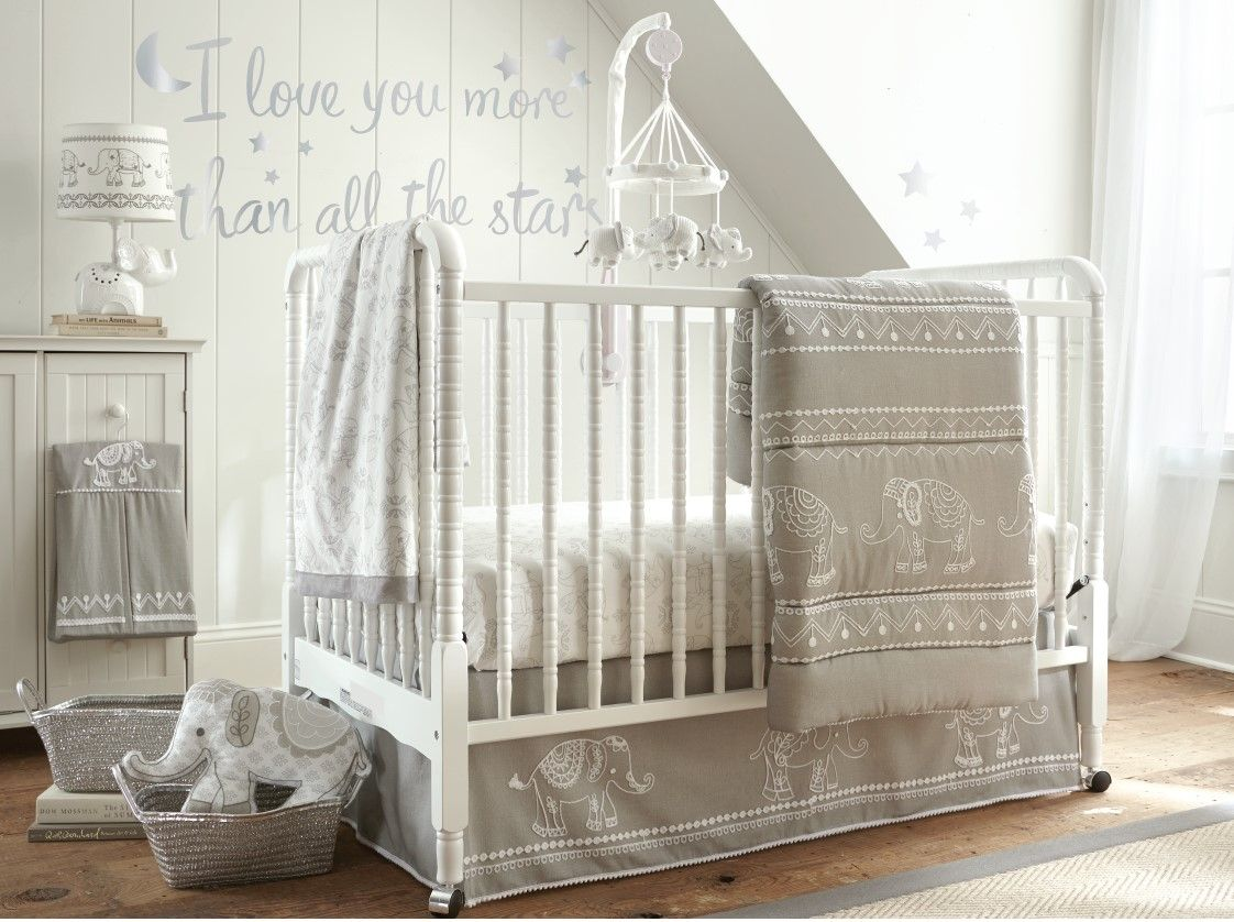 Add Elegant Décor To Your Little One S Nursery With The Levtex Baby Ely Crib Bedding Set In Gray Style Embroidered Elephants Cotton Quilt And