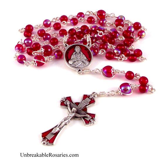 Sacred Heart of Jesus Rosary Beads In Red Czech Glass With Enamel Medals by Unbreakable Rosaries