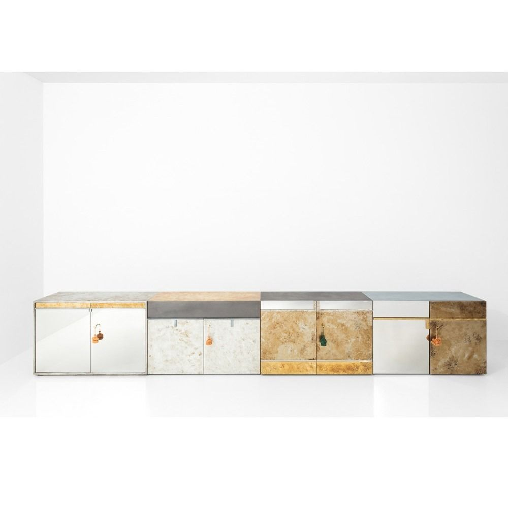 metal sheet, oxidised brass, etched steel, antique steel, pewter, and glossy lacquered wood