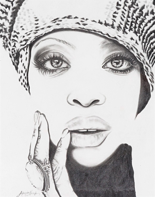 Original erykah badu fine art pencil drawing portrait signed by jeleatanicole on etsy