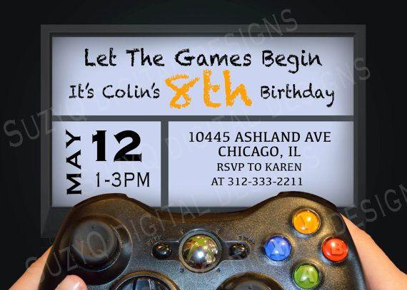 a video game birthday party invitation xbox by suzyqdigitaldesigns, Party invitations