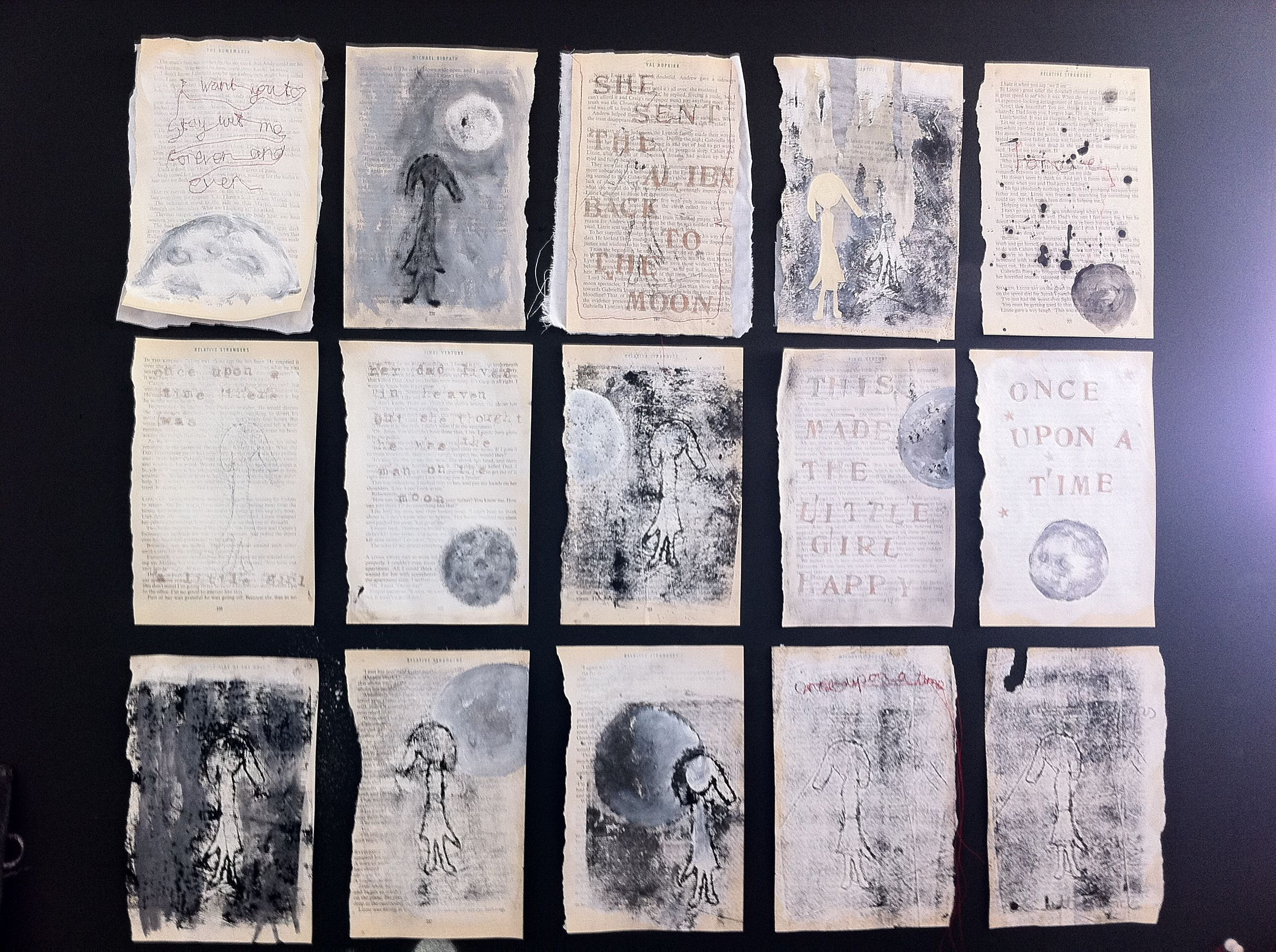 Book page prints mix of collagraph and monoprints my art work