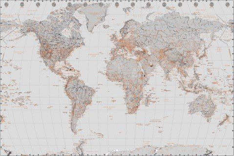 Posters maps poster world map silver with orange 36 x 24 inches posters maps poster world map silver with orange 36 x 24 inches you gumiabroncs Images