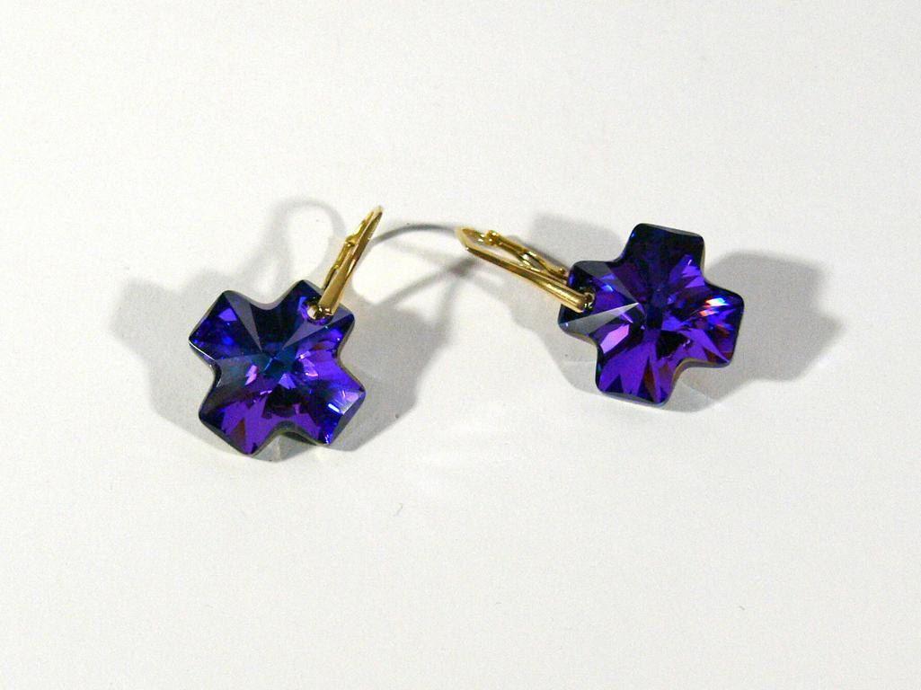 von RSSchmuckwelt auf Etsy #heliotrop #crystal #cross #earrings # wedding #etsygifts #etsyfashion #handmade #love