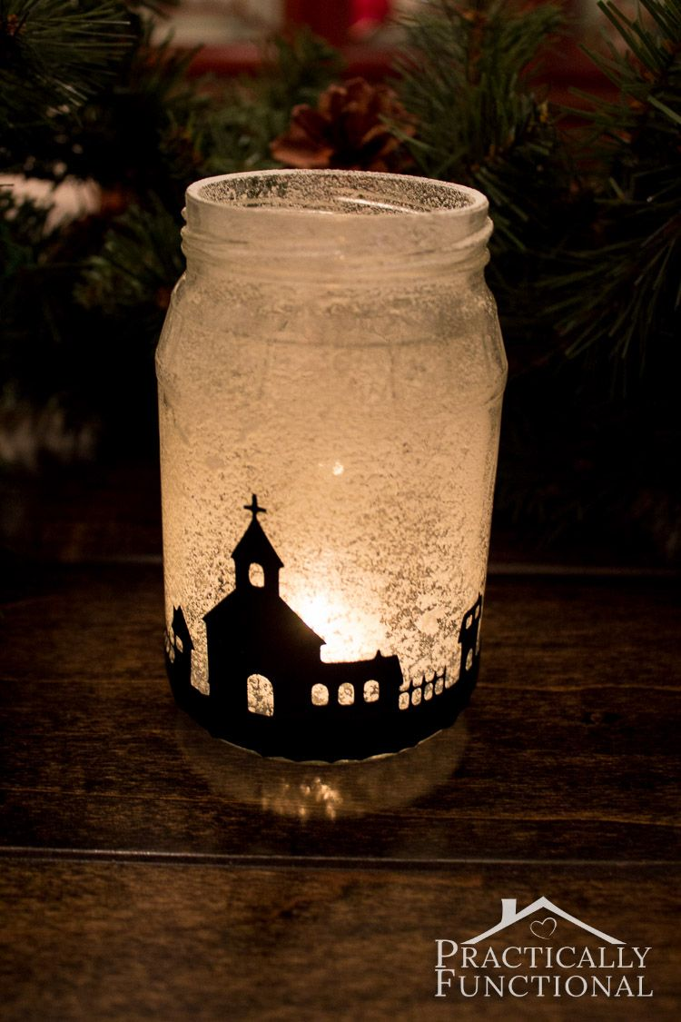 Snowy Christmas Village Silhouette Candle Jars Practically Functional Christmas Jars Candle Jars Christmas Candles