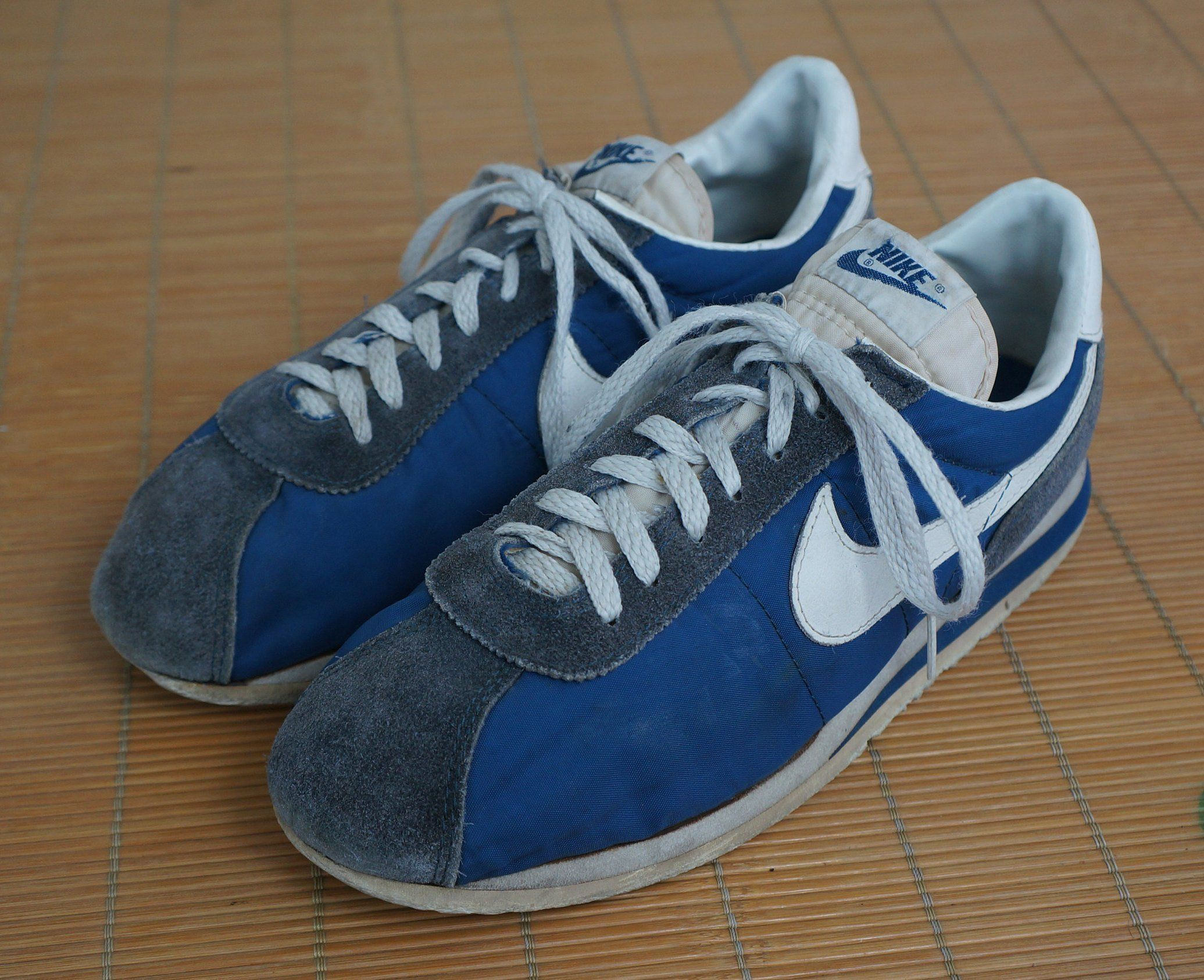 super popular 74966 c09e5 Vintage Nike Cortez Suede Blue Gray White Swoosh Shoes ...