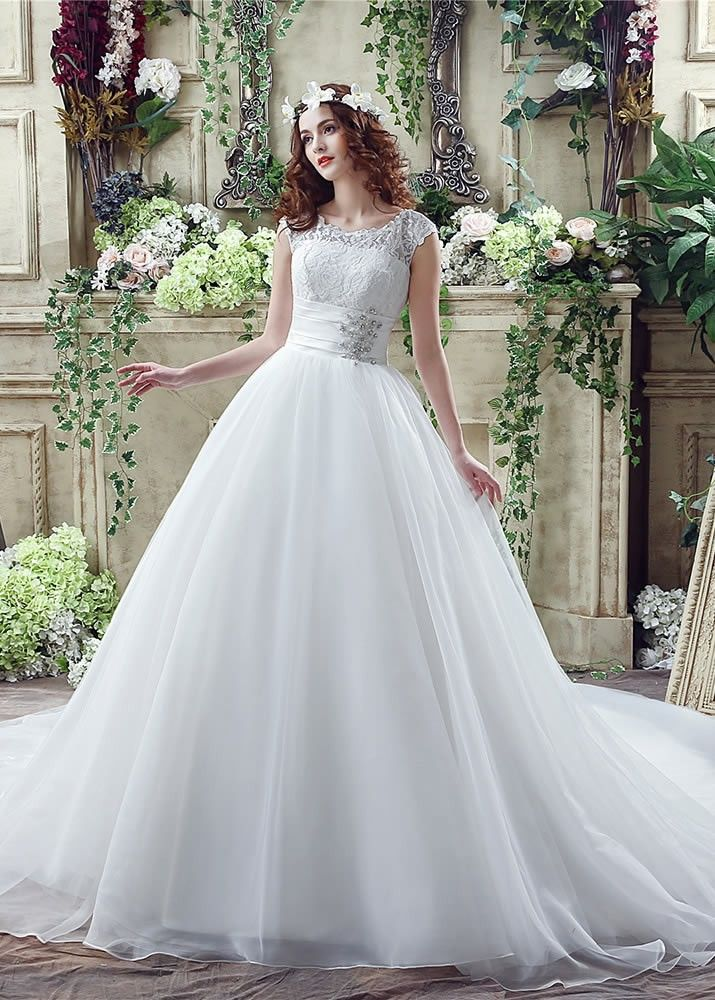 Fabulous Ball Gown Floor Length Scoop Lace Wedding Dress | Lace ...