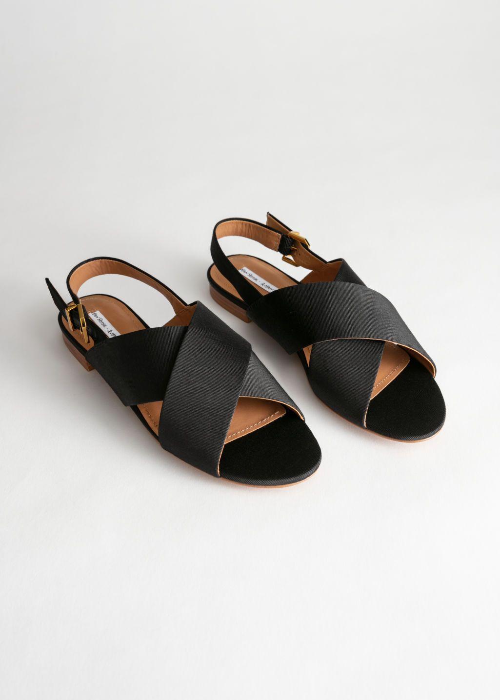 866eafdf0481 Criss Cross Slingback Sandals - Black - Flat sandals -   Other Stories