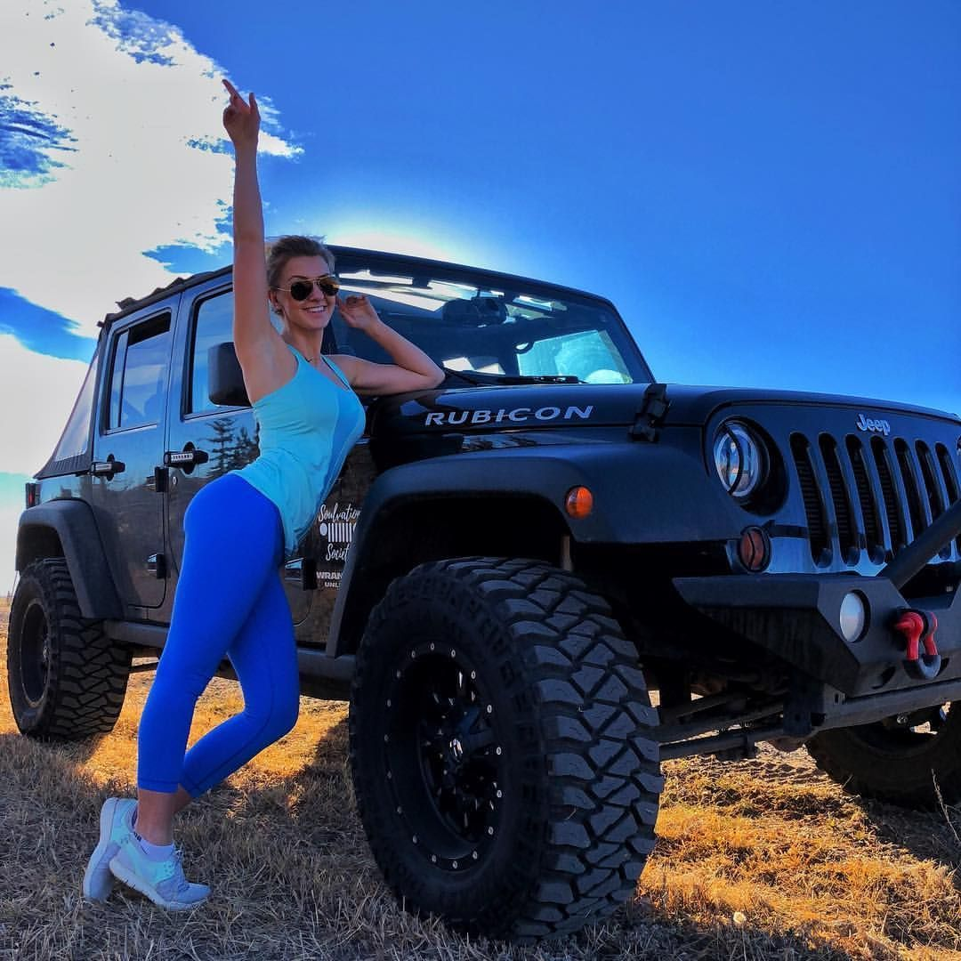 Jeep Wrangler Black Rubicon Unlimited Girl Mickey Thompson Fuel With Wheels Topless