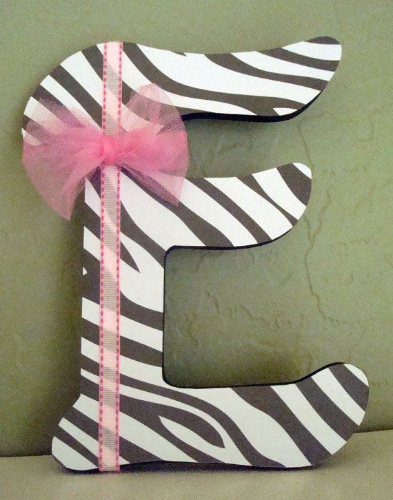 Girls Zebra Decorative letter  Made to Order  by thesweetestmemory, $10.00