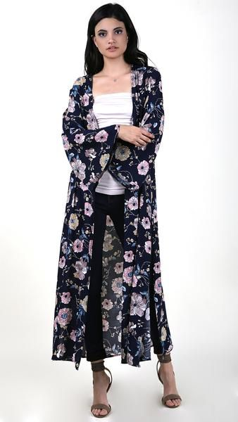 Floral Long Sleeve Cover Up
