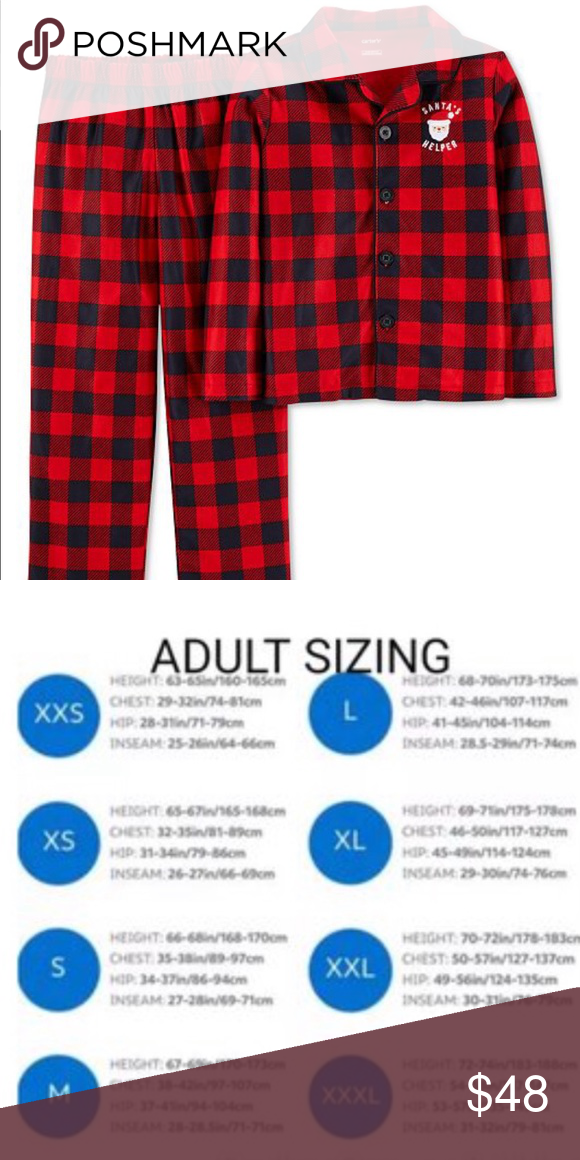 0f4fad4d33 ADULT BUFFALO PLAID CHRISTMAS pajamas LARGE Brand new with tags Santa s  Helper microfleece pajamas. Carters brand