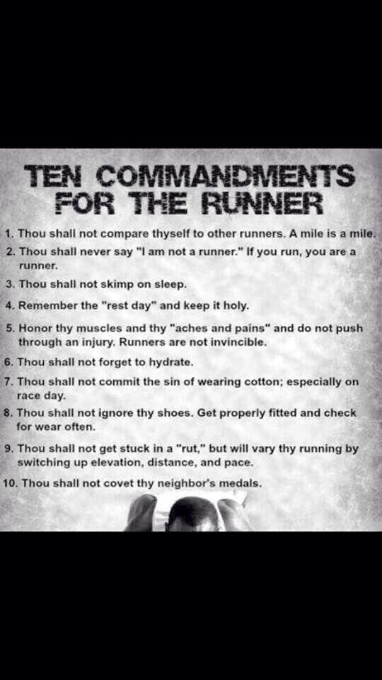 The Runner's 10 Commandments