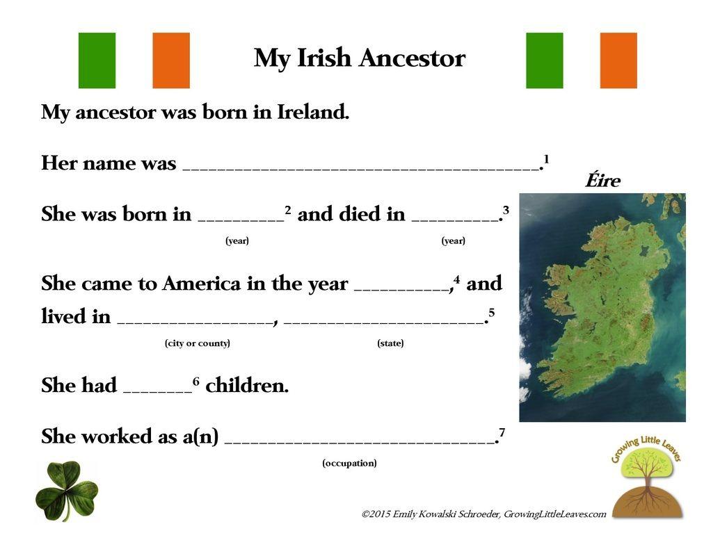My Irish Ancestor Free Worksheet Growinglittleleaves