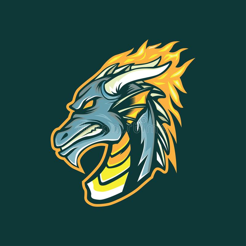 Illustration About Dragon Head Mascot Logo For Esports Editable And Changeable Color Illustration Of Culture Brand Abstract Dragon Head Mascot Illustration