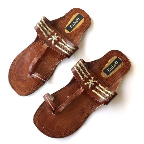 98303d892d8ed Dark Brown Indian Leather Kolhapuri Sandals Chappals Shoes for Women Women  Flats Women Sandals Ethnic Flip Flops