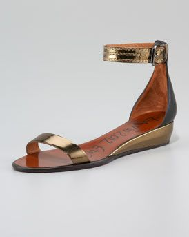 Lanvin  Ankle-Wrap Low-Wedge Sandal