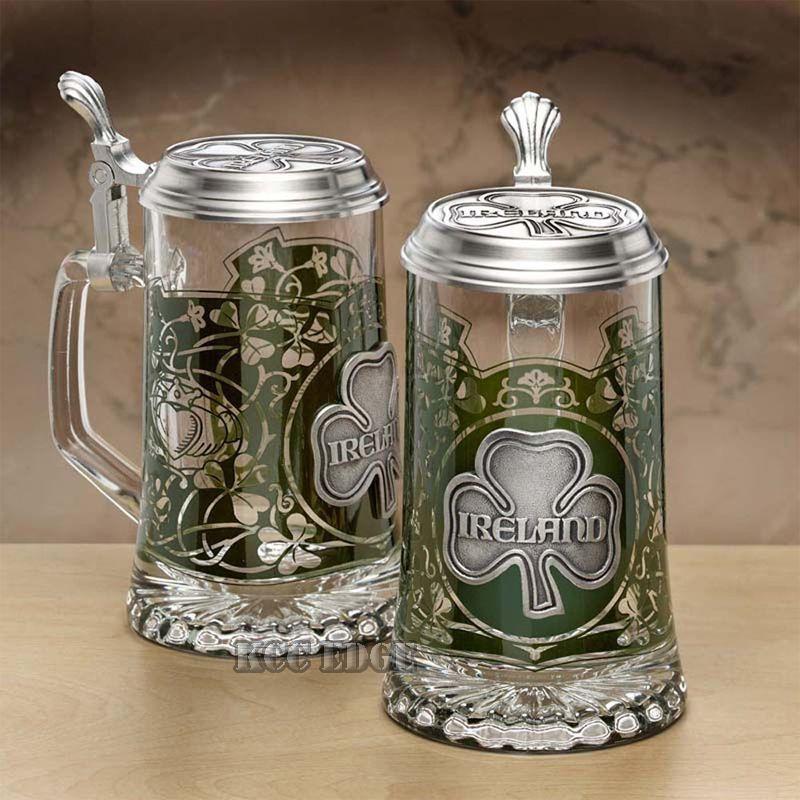 1pc Ireland Irish Glass German Beer Stein Tankard Shamrock ...  Irish Beer Mug